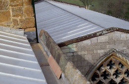 Stainless steel standing seam church roof