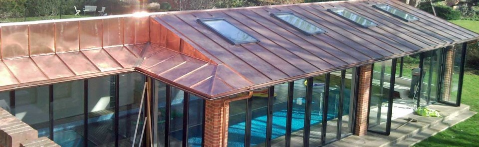 Copper work on Oxford pool house