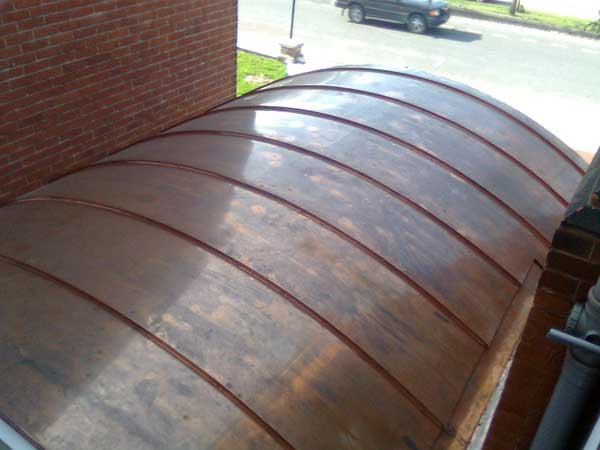 Curved Copper Porch In Brighton Sussex Carehome Metal