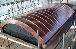 Vaulted copper roof for swimming pool house