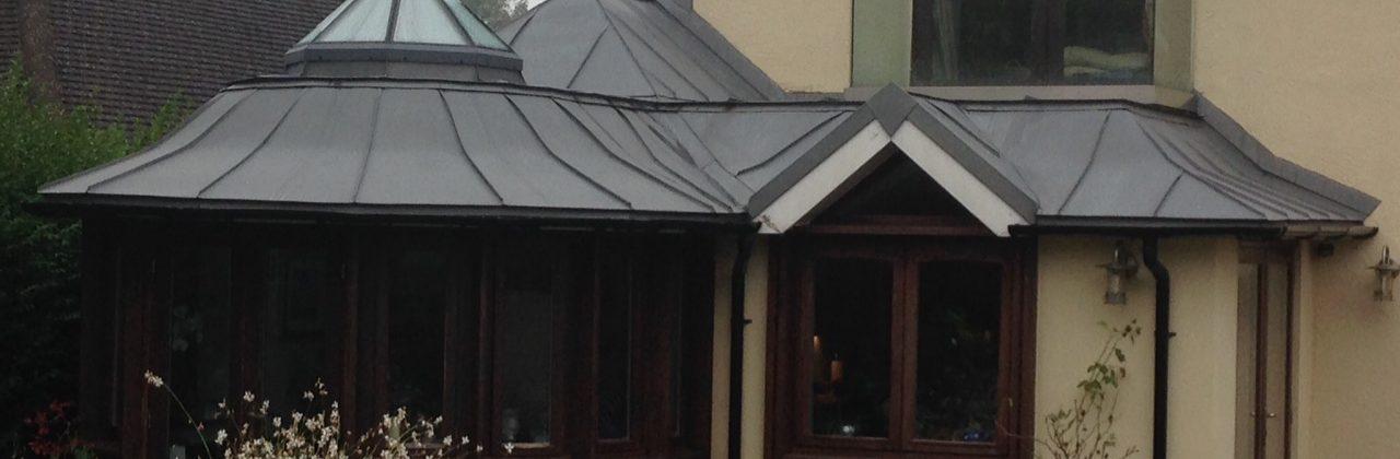 Complex zinc roof for Surrey extention