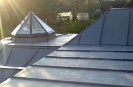 Complex zinc roof for Surrey extention