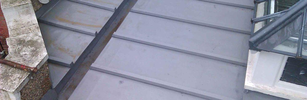 Batten roll zinc roof on London museum