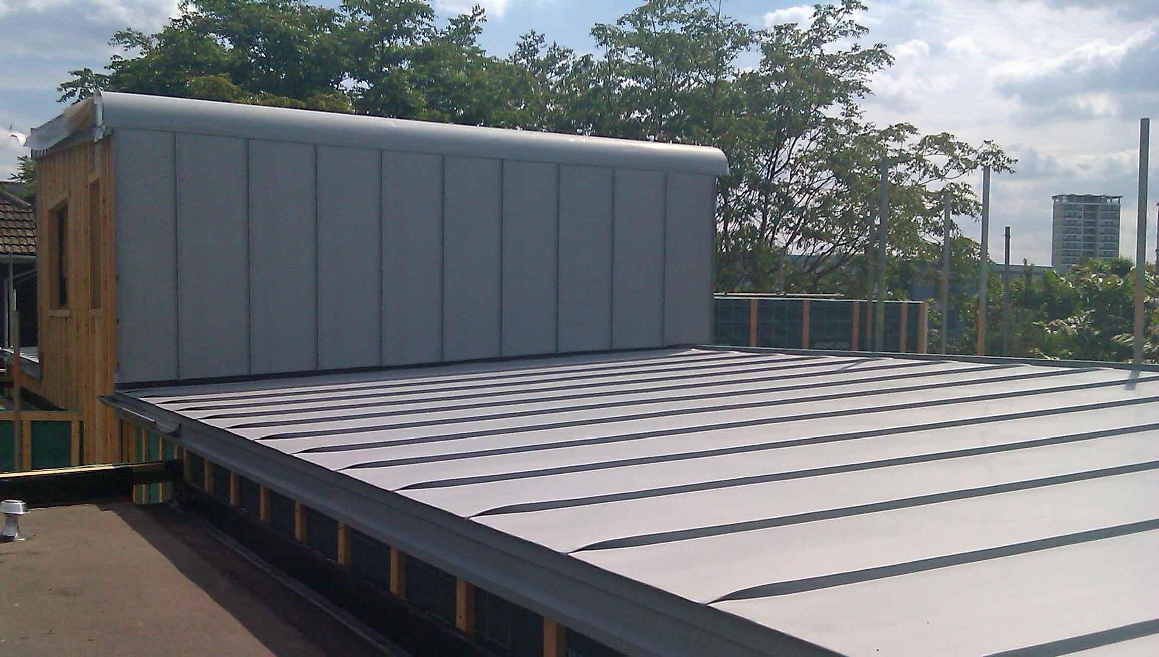 Falzinc roofs for Southwark apartment block - Metal Roof Ltd