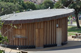 Copper cladding to Bexhill, Sussex, park cafeteria