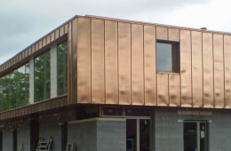Bronze finish copper cladding to Sussex House