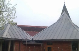 Two zinc pyramids on church extension in Sussex