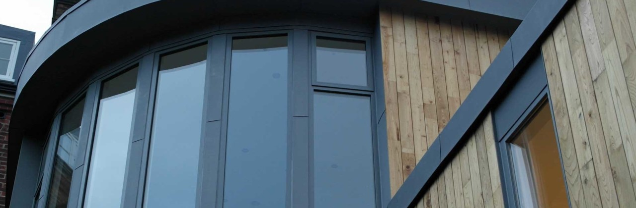 Zinc feature window in Lewes, East Sussex
