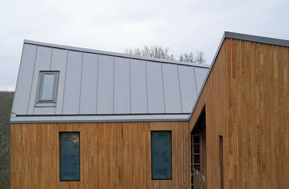 Modern New Build Design With Large Zinc Roof In Hadlow Down Metal Roof Ltd
